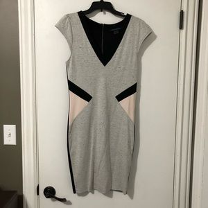 French Connection Gray Fitted Dress